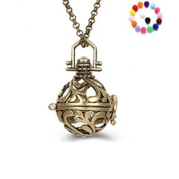 Wholesale Rose 31 - Aromatherapy Diffuser Locket Necklace Hollowed Out Essential Oil Diffuser Necklace Pendants with 31 Inches Chain Fashion Jewelry