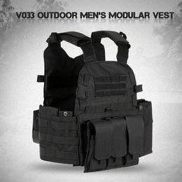 chaleco de engranajes Rebajas Chaleco modular para hombre Equipo de caza Carga táctico Portador Chaleco Batalla de camuflaje Molle Combate Placa de asalto Chaleco + Hidratación Bolsillo Swat