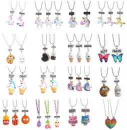 Wholesale Kids Jewelry Set Silver - Wholesales 32 Designs Best Friends Duds Jewelry sets Resin Cartoon Necklaces Owl Unicorn Pendants Kids Boys Girls Chokers