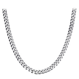Wholesale mens necklace length - 45cm 50cm 55cm 60cm 70cm length 9mm width Stainless Steel Necklace Mens Curb Cuban chain Necklace Silver Tone Chain Hiphop Jewelry