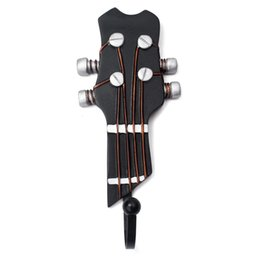 Wholesale guitar wall decorations - Guitar Heads Hook Wall Mounted Resin Clothes Hat Bag Hanger Hook for Home Music Decoration