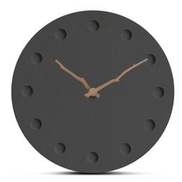 Simples Design Moderno Relógio De Parede De Madeira Europa Novo Estilo Black Handmade Circular Silenciosamente Grande Pendurado Relógio de Parede Relógio de Decoração Para Casa de