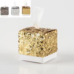 """Favores y regalos de la nueva fiesta de bodas Caja de dulces """"All That Glitters"""" Caja de bolsa de regalo con brillo dorado para huésped desde fabricantes"""