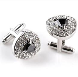 Gemelli di porpora mens online-Gemelli di lusso per uomo e donna Zircon nero viola cristallo bianco moda polsino di marca Botton di alta qualità