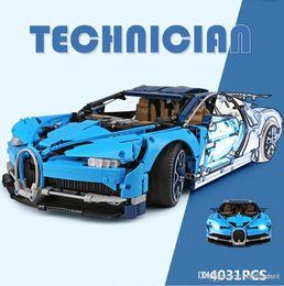Juguetes de coches azules online-Lepin 20086 4031 Unids Serie Technic Super Car Racing Azul Bugatti Chiron Bloques de Construcción Ladrillos Juguetes para Niños Modelo de Coche Regalos Legoing 42083