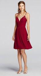 Wholesale Crinkled Dress - Short Spaghetti Strap Deep V Crinkle Chiffon Dress F19209 Bridesmaid Dress With carefully placed side pleats Cheaper Dresses