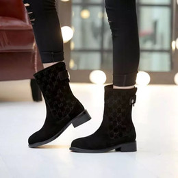 back zipper boot 2018 - Luxury Brand Classic Women Short Boots Black Suede Cowhide 3.5cm Chunky Heel Female Ankle Boots Knight Martin Back Zipper Casual Winter Shoe
