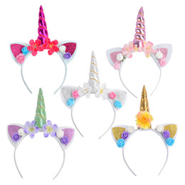 Styling Tools 2019 Fashion 1pc Headband Glitter Unicorn Horn With Chiffon Flowers Hair Hoop Party Hair Styling Tool Braiders For Kids 6 Colors Choice Materials