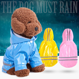 Wholesale Xl Dog Clothes - 3 Color Hooded Pet Dog PU Reflection Raincoats Waterproof Clothe For Small Dogs Chihuahua Yorkie Dog Rain coat Poncho Puppy Rain Jacket S-XL