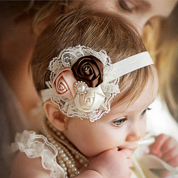 Pink white flower hair accessories canada best selling pink white newborn headwear kids flower headband pink lace hair bands girl felt flower scarf hair accessories w 033 mightylinksfo