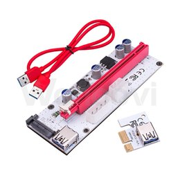 Wholesale pci express cable extension - VER008S 3in1 Molex Power 60CM PCI-E Riser Card 4pin 6pin Sata PCI Express 1x to 16x 1x Extension Cable for Bitcoin Miner OTH824
