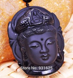 Wholesale Carved Stone Pendant Beads - Wholesale-Beautiful Chinese Handwork Natural Black Obsidian Carved Kwan-yin Buddhism Lucky Amulet Pendant Beads necklace Fine Jewelry