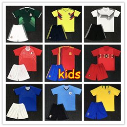 Wholesale Messi Jersey Kids - 10 set free DHL kids kit Soccer Jerseys 2018 World Cup Argentina messi Belgium Brazil Colombia Mexico Spain Japan Uruguay child Full kit boy