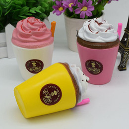 cups roses Coupons - Squishy Jumbo Straw 10cm Coffee Cup Cream Cappuccino Cup Kawaii Soft Slow Rising Cream Scented Fun Kids Toy Cell Phone Strap