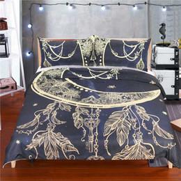 комплекты постельного белья Скидка Hot sale 3D New  golden stars moon feather bronzing design 3Pcs USA AU bedding set twin full queen king size adult textile