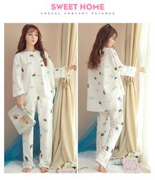 Argentina Sp024 modelos de primavera y otoño pijamas de algodón gato de dibujos animados dulce linda ropa informal versión suelta de la niña versión coreana del servicio doméstico Suministro