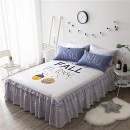 Wholesale Rose Print Skirt - 8Colors DeMissir100% Cotton Cartoon Print Bed Skirt Duvet Cover Pillowcase Bedding Set Children Twin Full Size ruffled bedspread