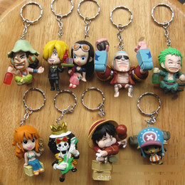 Wholesale One Piece Anime Keychain - New One Piece Zoro Frank Luffy Brook Chopper Robin Nami Sanji Anime Keychain Collectible Action Figure PVC Collection toys 9pcs set