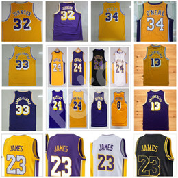 Wholesale 13 basketball jersey - Men's Retired player basketball jersey Vintage 32 Magic Earvin Johnson 33 Abdul Jabbar 13 Wilt Chamberlain 23 Lebron #8 24 Kobe retro Jersey