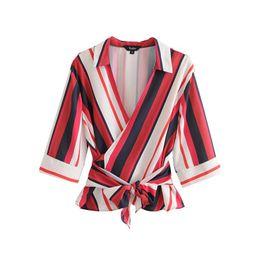 2019 blusa de arco de rayas Mujeres elegante blusa de rayas con cuello en V Cuello pajarita fajas media manga girar hacia abajo camisa de cuello damas tops casuales blusas blusa de arco de rayas baratos