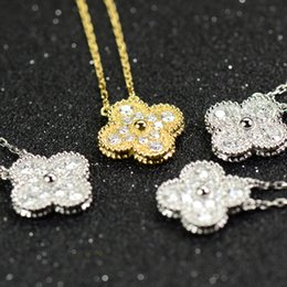 Flores colar de pingente de diamante das mulheres sorte 14 k colar de ouro Mulher colares festa de casamento de