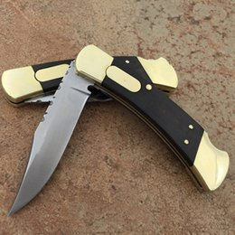 v knife Promo Codes - High-end BK 110 knife single action back serrated brass+wood handle A07 A161 A162 A163 V 616 hunting xmas gift knife 1pcs