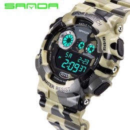 Wholesale G Shock Watch Wholesale - 2017 New Brand SANDA Fashion Watch Shock Resistant Men's Luxury LCD Digital G Style Sports Camouflage Gift Relogio Masculino