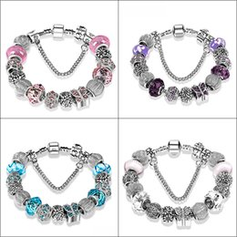 Wholesale Wholesale Pandora Bracelets Set - New Fashion Jewelry Natural stone Murano Glass Charms Bracelets & Bangles Butterfly beads fits Pandora bracelet For Women with Gift bags