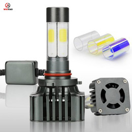 Wholesale quality car parts - Car parts wholesale high quality crystal tubes led car headlight 9005 4 sides cob with fan