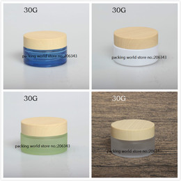 Wholesale Wooden Packing - 30G frosted green blue glass jar wooden shape lid for day cream night cream moisturizer essence gel cosmetic packing