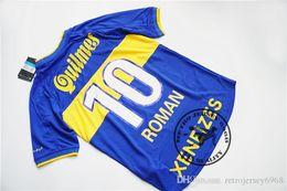 Wholesale roman blue - Free shipping 2000 Boca Juniors retro roman jersey old jersey retro soccer shirts calssical jersey