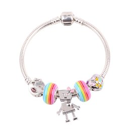 children quality bracelet Coupons - Cute Style Children High Quality Gift Rainbow Glass Beads Personality Robot Pendant DIY Suitable for Women Bracelet Jewelry