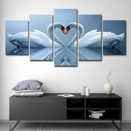photo wall prints Coupons - Wall Art Pictures Canvas Art Poster Print Painting Home Decor 5 Panel Animal Love Swan HD Photo For Kids Room