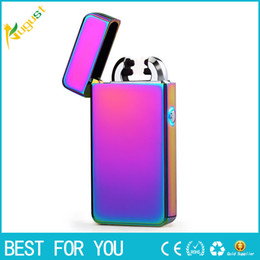 Wholesale electronic slim cigarette - 2018 Male gift Arc Lighters metal USB Rechargeable Flameless Electric Arc Windproof Cigar Cigarette Lighter Cross Double Pulse Slim Lighter
