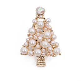 Wholesale austria pin - whole saleFashion Jewelry High Quality Vintage Brooch Pins Austria Crystals Imitation Pearl Christmas Tree Brooch Wedding Accessories