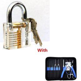 Werkzeug entfernen gebrochene schlüsselverriegelung online-Lock-Picks Werkzeuge Transparent Sichtbare Cutaway Praxis Vorhängeschloss Mit 19Pcs Lock Broken Extractor Entfernen Key Removal Hooks Nadel BK185