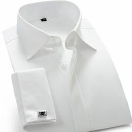 Wholesale Turndown Collar Dress Shirt - 2017 Recommend quality France cufflink men dress shirts turndown collar breathable slim fit party wedding male tuxedo shirts
