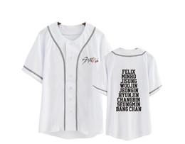 Tshirt kpop on-line-Kpop Stray Crianças Moleton Camiseta Mulheres Homens Algodão Branco T-shirt De Beisebol Harajuku Top Camisa de Manga Curta T