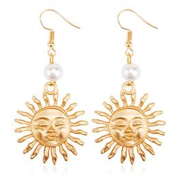 Wholesale Pearl Smile - Hot Sale Bohemia Sunflower Earrings Trendy Pearl Smiling Face Earrings For Party Women Girls Ear Jewelry