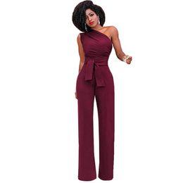 3f83cc45a88 Hot Sale One Shoulder Jumpsuits Summer Sleeveless Belt Wide Leg Elegant Lady  Casual Jumpsuits White Black Blue Red Yellow discount elegant jumpsuit sale