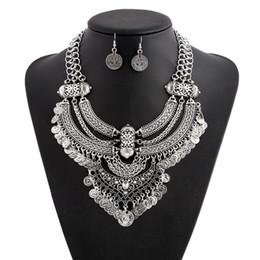 Wholesale Boho Statement Necklace - whole saleHot Selling Women Boho Fashion Ethnic Statement Bib Pendant Collar Choker Coin Necklace Set