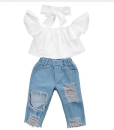 Wholesale Unisex Baby Clothing - 3PCS Set Cute Baby Girls 2017 New Fashion Children Girls Clothes Off shoulder Crop Tops White+ Hole Denim Pant Jean Headband 3PCS Toddler Ki