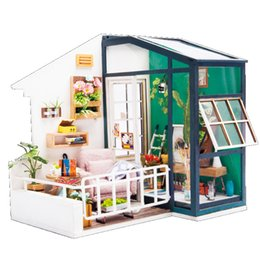 Wholesale mini house model - DIY DollHouse Miniature With Furniture Art House Wooden Mini Dollhouse Gift Toys Model For Kids Have A Rest DGM05