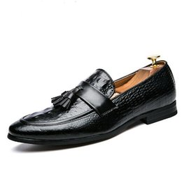 Wholesale Snake Skin Men Shoes - 2018 Mens Tassel Shoes Leather Italian Formal Snake Fish Skin Dress Office Footwear Luxury Brand Fashion Elegant Oxford Shoes For Men
