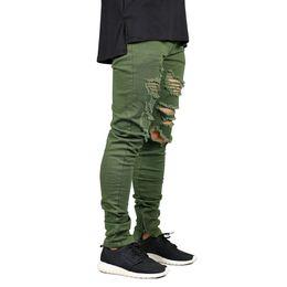 20b49c6b6fdd3 Men Zipper Destroyed Jeans Stretch Fashion Army Green Ripped Men Skinny  Jeans Y2631