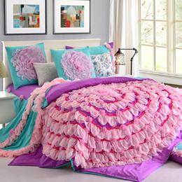 Wholesale White Lace King Sheet Set - Wholesale-Korean high-grade pink chiffon princess wedding bedding set 4pcs full queen king size lace ruffle flat sheet set free shipping