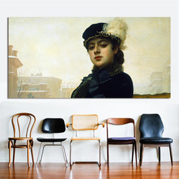 impressionist painting woman portrait 2018 - 1 Pcs Canvas Art Wall Pictures For Living Room Kramskoy Portrait of Unknown Woman Painting Home Decor Printed Frameless
