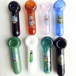 fabricantes de moedas Desconto Rick e Morty Pickle Cucumber Tabaco Mão Cachimbo de Vidro Tubos de Óleo de Bicos de Prego Tubo De Fumar Pyrex Espessa 8 Cores Escolher 4.0 polegadas