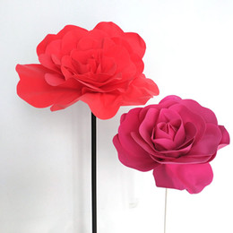 2019 teste di rose artificiali New Large Foam Fake Flowers Head Artificiale PE Rose Matrimonio Fiore Parete Matrimonio Finestra Layout di sfondo Fiori finti sconti teste di rose artificiali