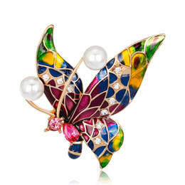 Wholesale Oil Pin - Pin Crystal Jewelry Alloy Brooch Gold Brooch Retro Drop Oil Brooch Fashion Diamond Paintedinsect Butterfly Corsage Female Temperament Women